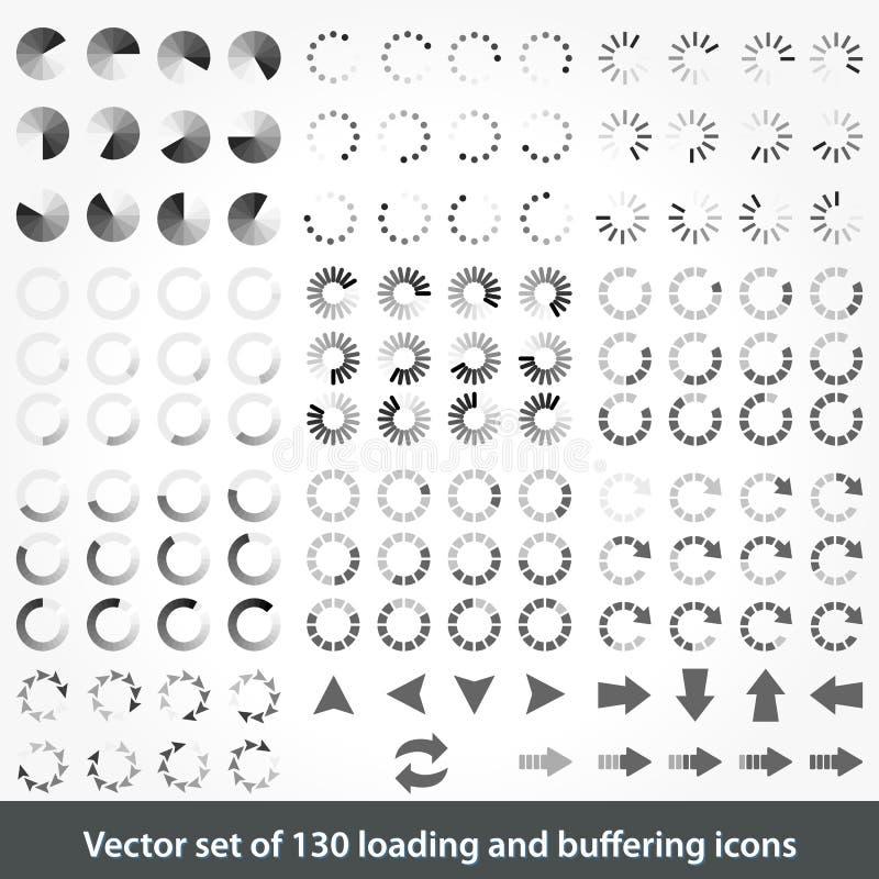 Uppsättning av 130 som laddar, och fungera som buffert symboler royaltyfri illustrationer