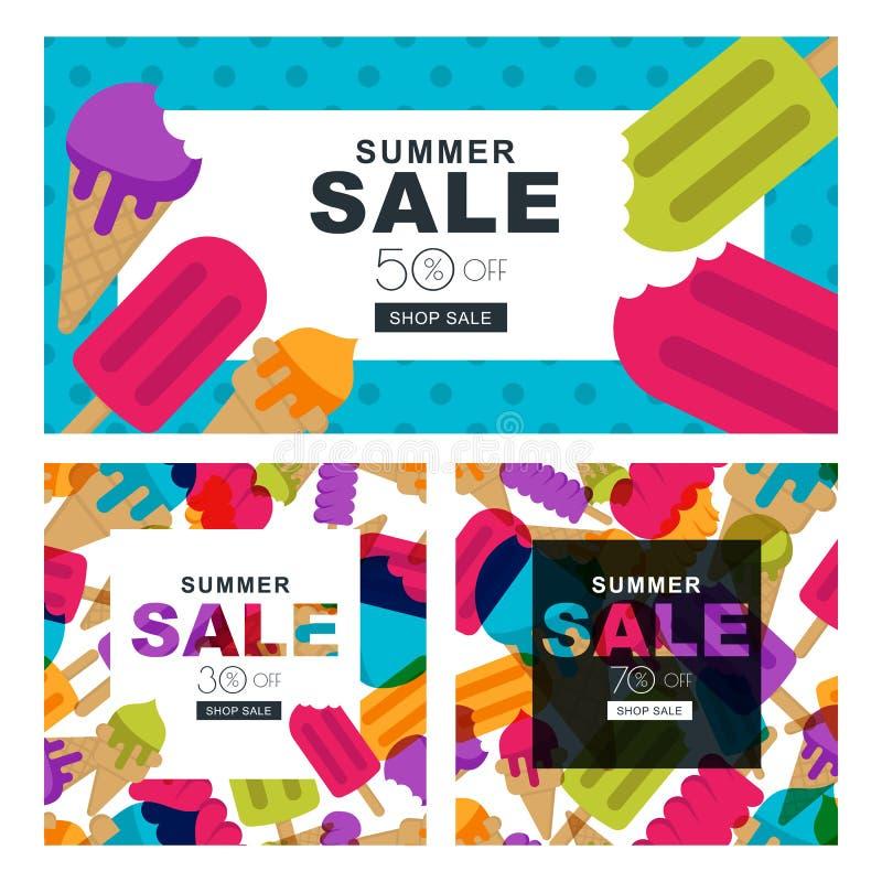 Uppsättning av sommarförsäljningsbaner med flerfärgad glass Vektorhorisontal- och fyrkantiga baner och reklamblad royaltyfri illustrationer