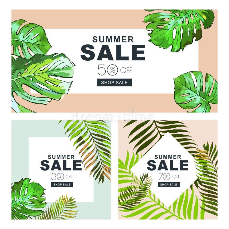 Uppsättning av sommarförsäljningsbaner med kokosnötpalmblad Vektorhorisontal- och fyrkantiga baner Sommaraffischbakgrund royaltyfri illustrationer