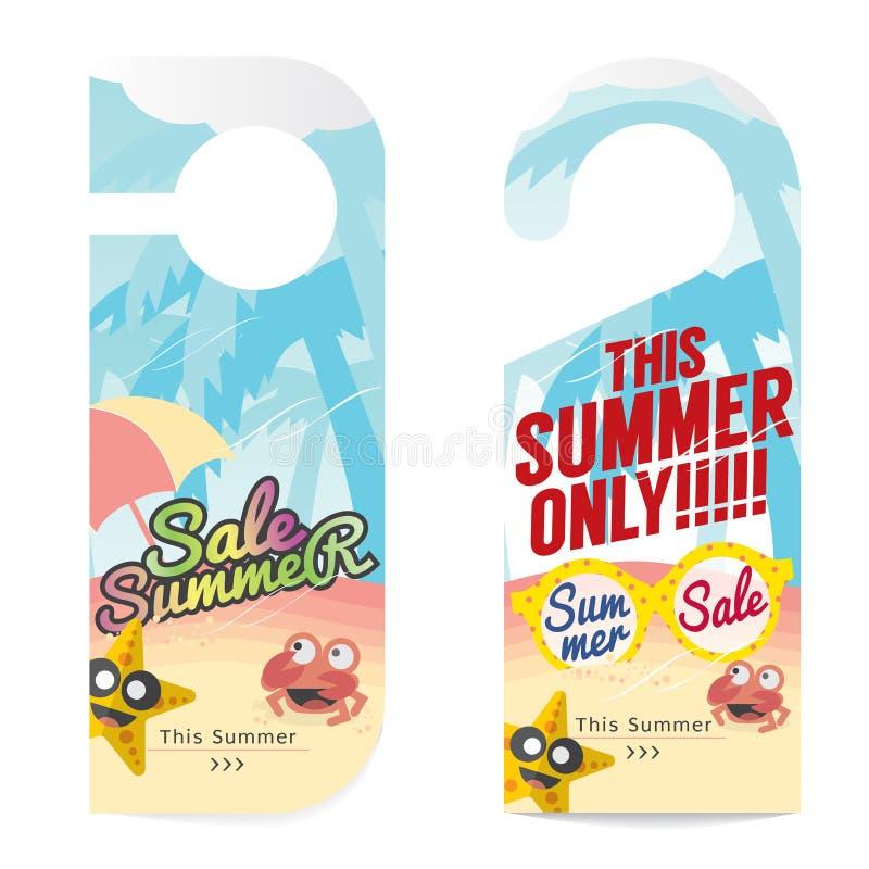 Uppsättning av sommarförsäljningsetiketten royaltyfri illustrationer