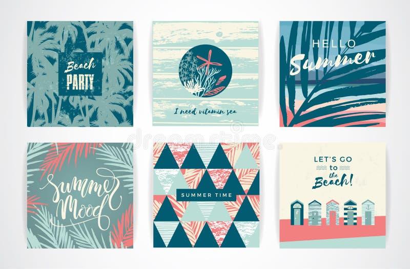 Uppsättning av sommarkort med hand-teckning beståndsdelar stock illustrationer