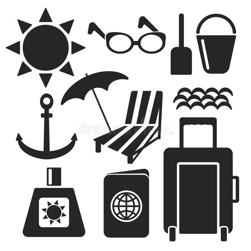 Uppsättning av sommarrengöringsduk- och mobilsymboler vektor stock illustrationer