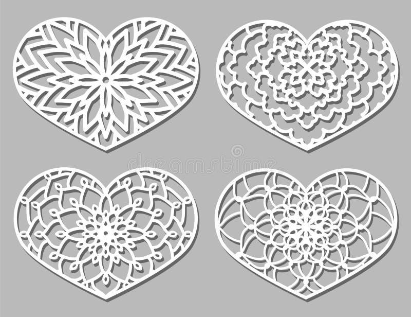 Uppsättning av spets- hjärtor för vektorstencil med den sned openwork modellen vektor illustrationer