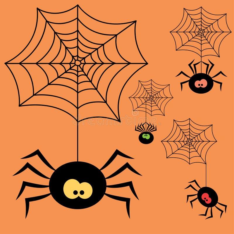 Uppsättning av spindlar för tecknad filmhalloween svart vektor illustrationer