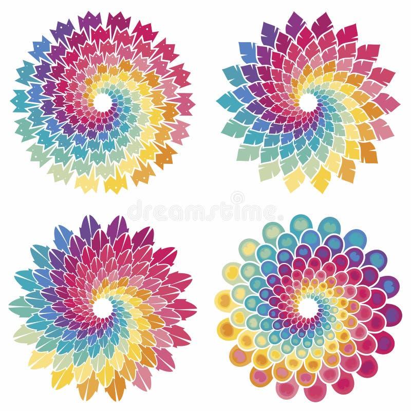 Uppsättning av spirala stjärnor royaltyfri illustrationer