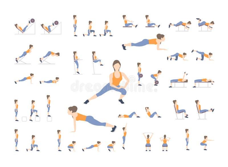 Uppsättning av sportövningar Övningar med fri vikt Övningar i en idrottshall Illustration av en aktiv livsstil vektor stock illustrationer