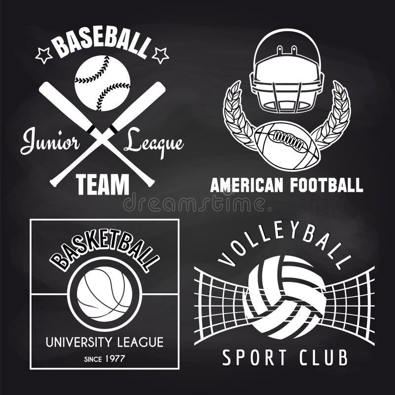 Uppsättning av sportbaner på chalkbpard vektor illustrationer