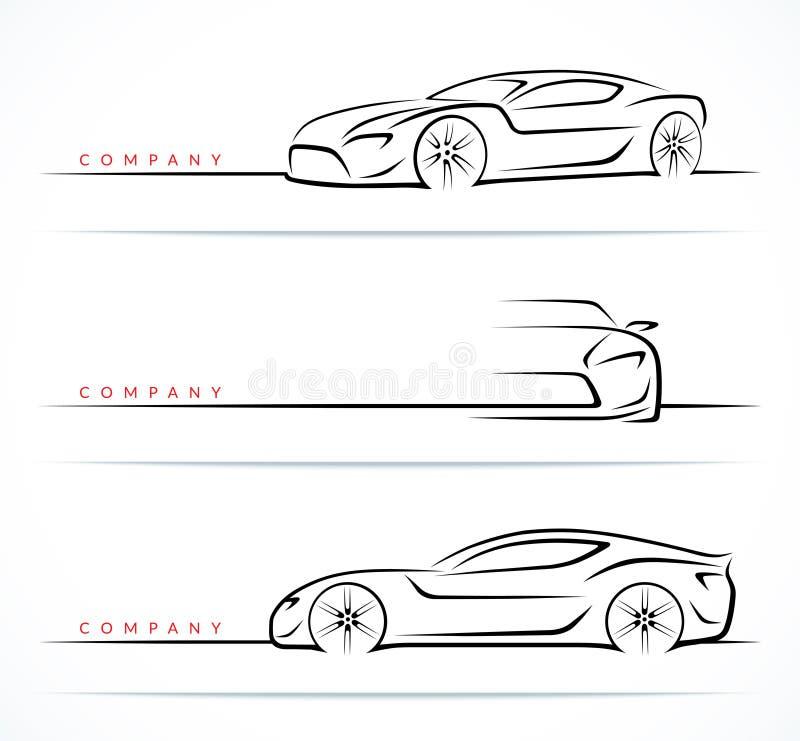 Uppsättning av sportbilkonturer också vektor för coreldrawillustration stock illustrationer