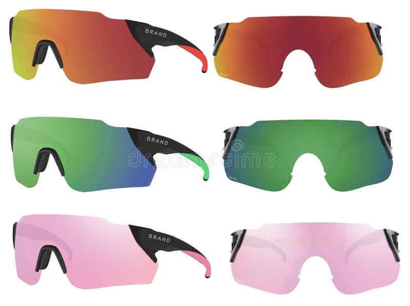 Uppsättning av sportsolglasögon på en vit bakgrund också vektor för coreldrawillustration vektor illustrationer