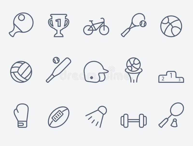 Uppsättning av 15 sportsymboler royaltyfri illustrationer