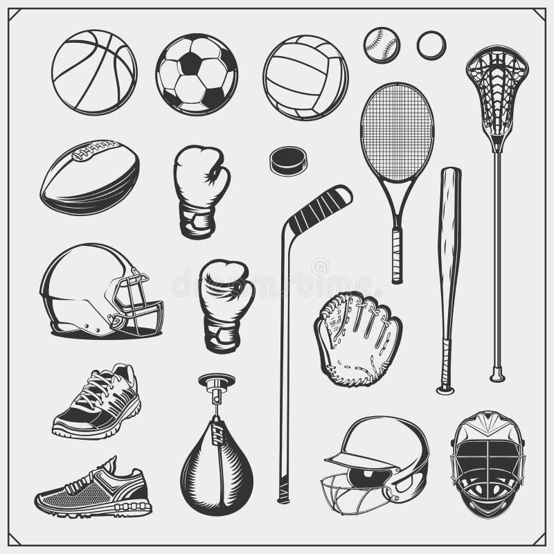 Uppsättning av sportutrustning Fotboll, fotboll, lacrosse, basket, baseball, hockey och tennis royaltyfri illustrationer