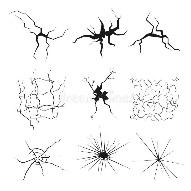 Uppsättning av sprickor för katastrofdesign Olika typtexturer bryter jord, i väggen, glass skrevor vektor illustrationer