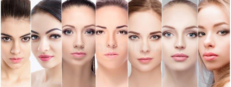 Uppsättning av stående av den härliga kvinnliga framsidan med naturlig makeup arkivfoto