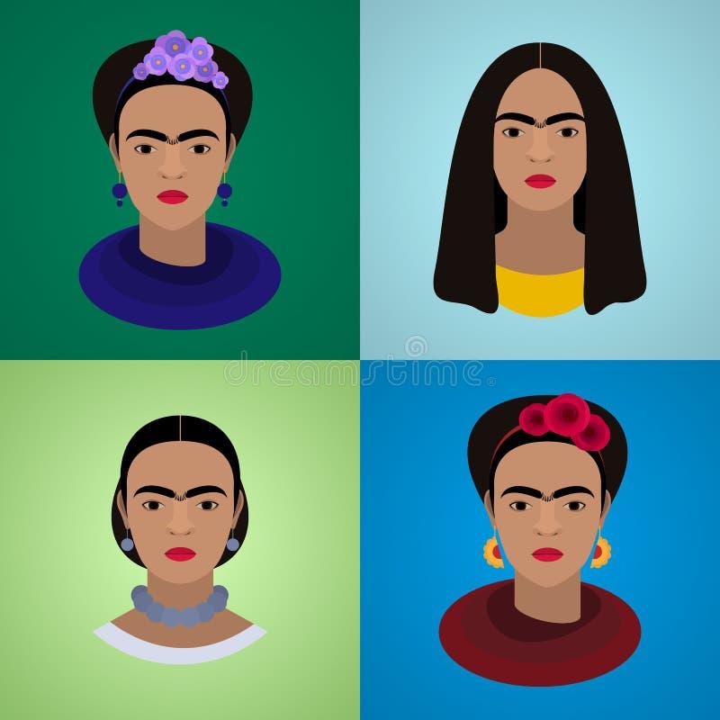 Uppsättning av stående av Frida Kahlo stock illustrationer