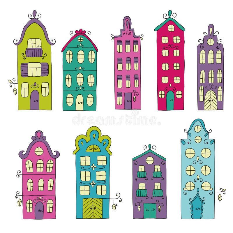 Uppsättning av stadbyggnad vägg för gator för tegelstenstadsflicka vektor illustrationer