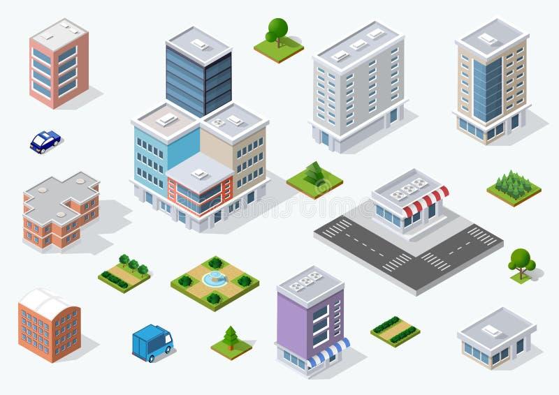 Uppsättning av stadområdet royaltyfri illustrationer