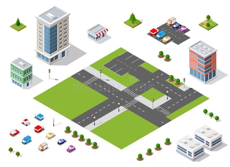 Uppsättning av stadområdet vektor illustrationer