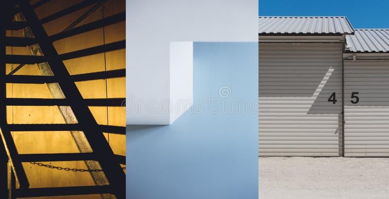 Uppsättning av stads- bakgrund för arkitektur tre Arkitektoniska yttersidadetaljer royaltyfri foto