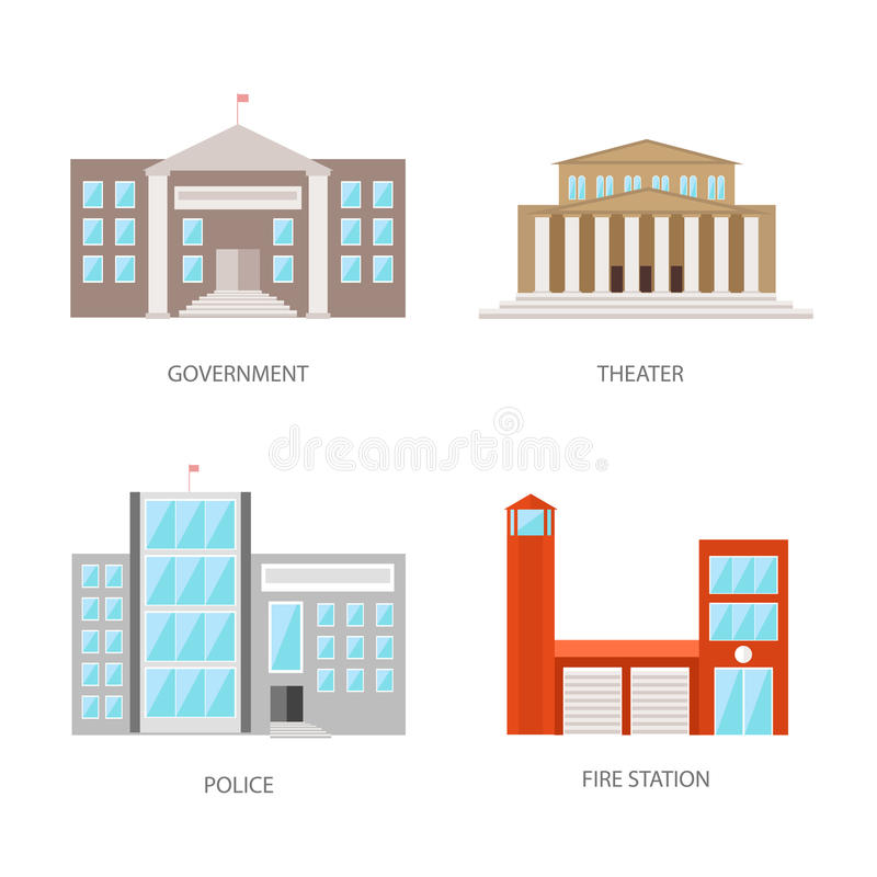 Uppsättning av stads- byggnader i en plan stil Regerings- byggnads-, teater-, polis- och brandstation Vektor illustration vektor illustrationer