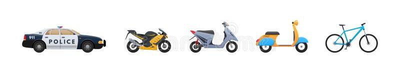 Uppsättning av stads- transport, medel Polisbil, moped, sparkcykel, cykel stock illustrationer