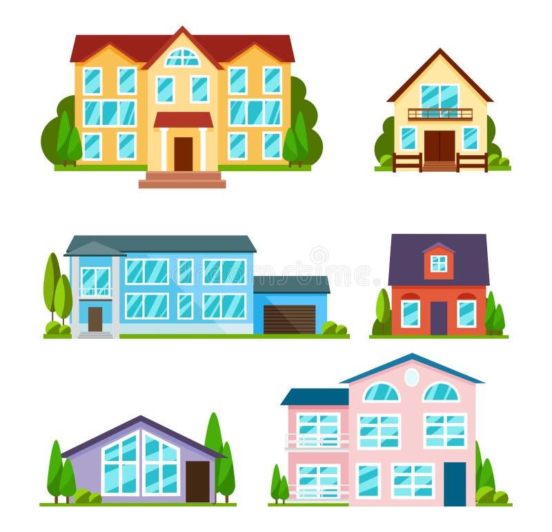 Uppsättning av stadsbyggnader i plan stil Modernt hus, skola och universitet Bostads- husyttersida Radhus och lägenhet vektor illustrationer