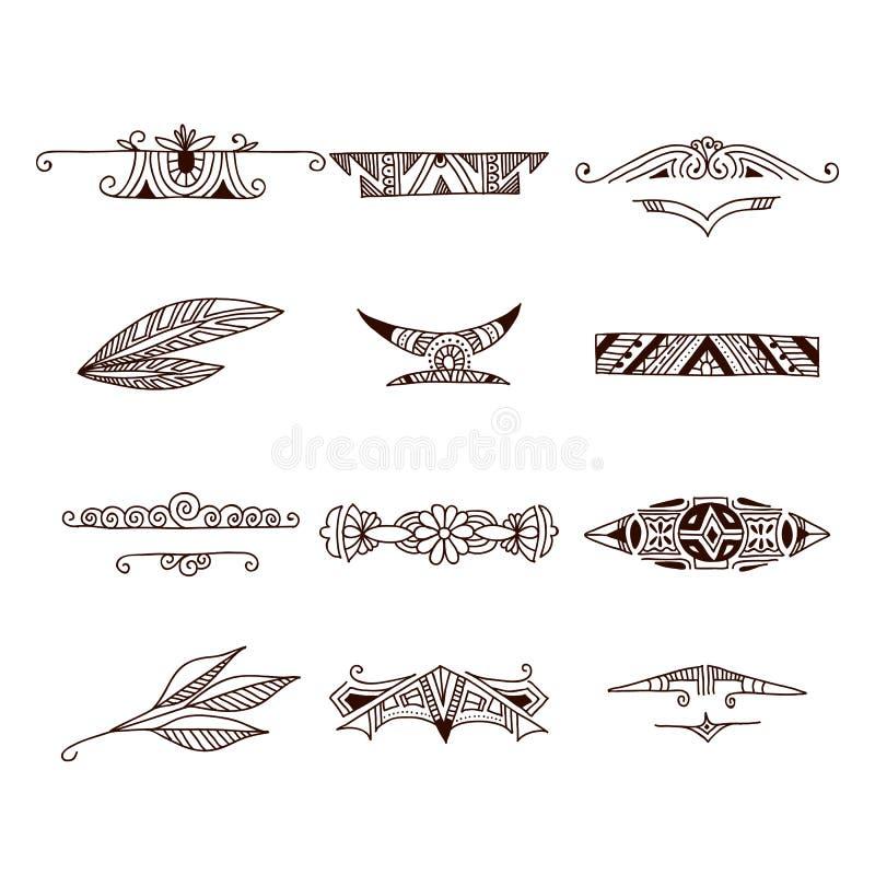 Uppsättning av stam- klotterbeståndsdelar tecknade kvinnor för framsidahandillustration s vektor illustrationer
