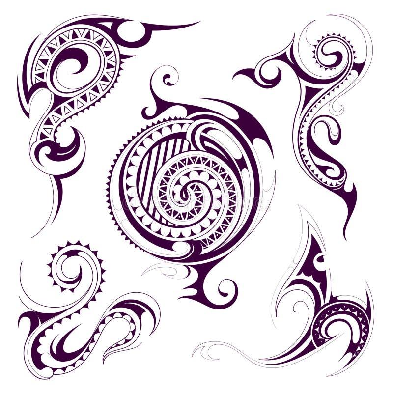 Uppsättning av stam- tatueringformer stock illustrationer