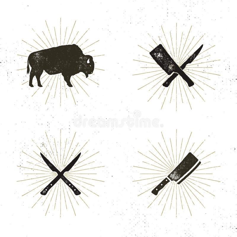 Uppsättning av stekhus-, slaktare- och kötthjälpmedel - korsade förskärare för, snittet, bison med solen brister Retro boktryck stock illustrationer