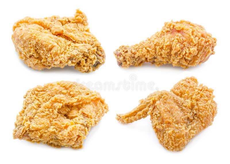 Uppsättning av stekt kyckling på vit bakgrund royaltyfri fotografi