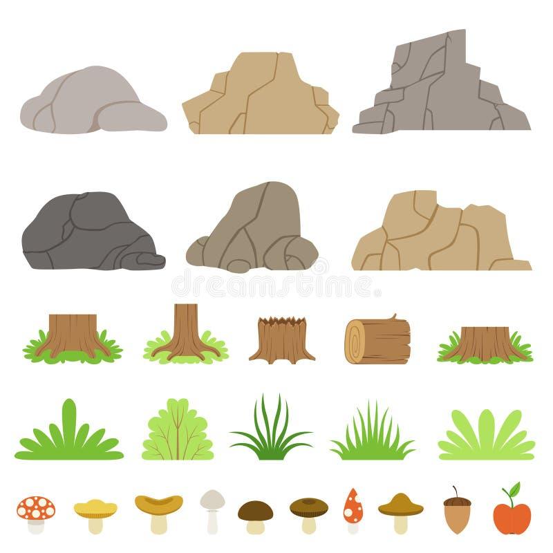 Uppsättning av stenar av olika former, skogstubbar, journaler, buskar, gräs och champinjoner också vektor för coreldrawillustrati royaltyfri illustrationer