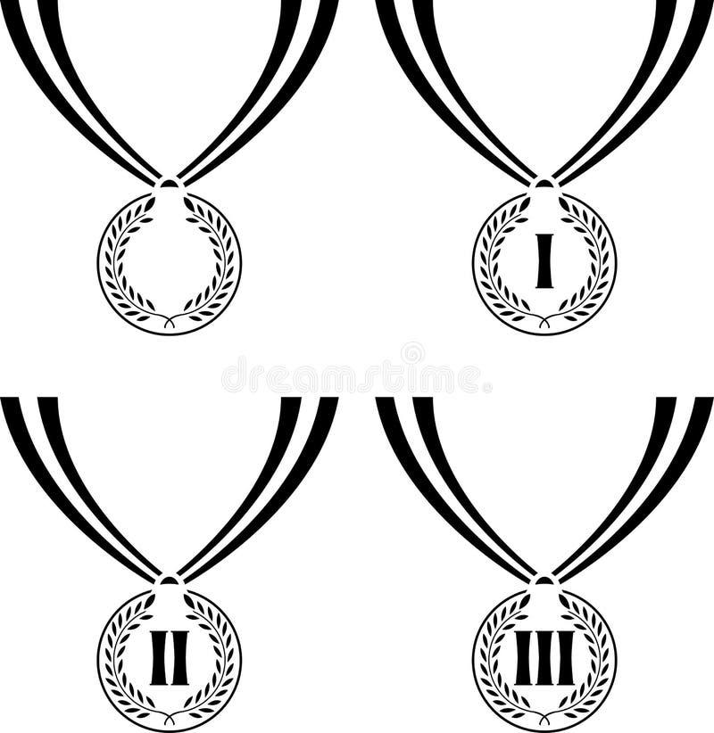 Uppsättning av stenciler av medaljer vektor illustrationer