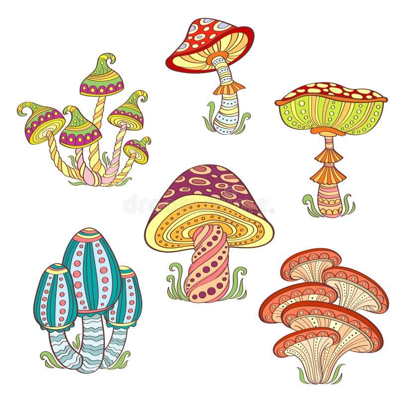 Uppsättning av stiliserade dekorativa färgrika champinjoner royaltyfri illustrationer