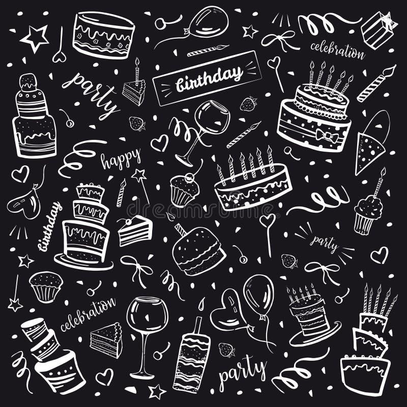 Uppsättning av stiliserade födelsedagbeståndsdelar på svart tavlabakgrund Kakor, ballonger, önska och garneringar Hand dragen tec royaltyfri illustrationer