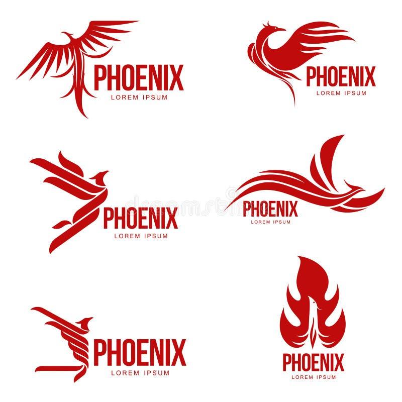 Uppsättning av stiliserade grafiska mallar för phoenix fågellogo, vektorillustration stock illustrationer