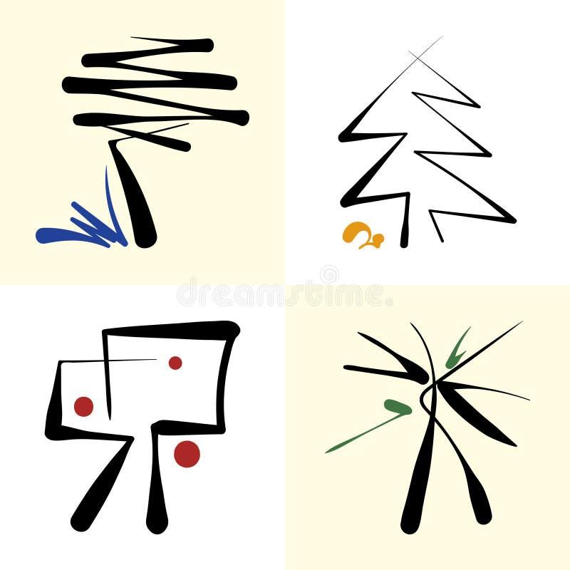 Uppsättning av stiliserade symbolsträd arkivbilder