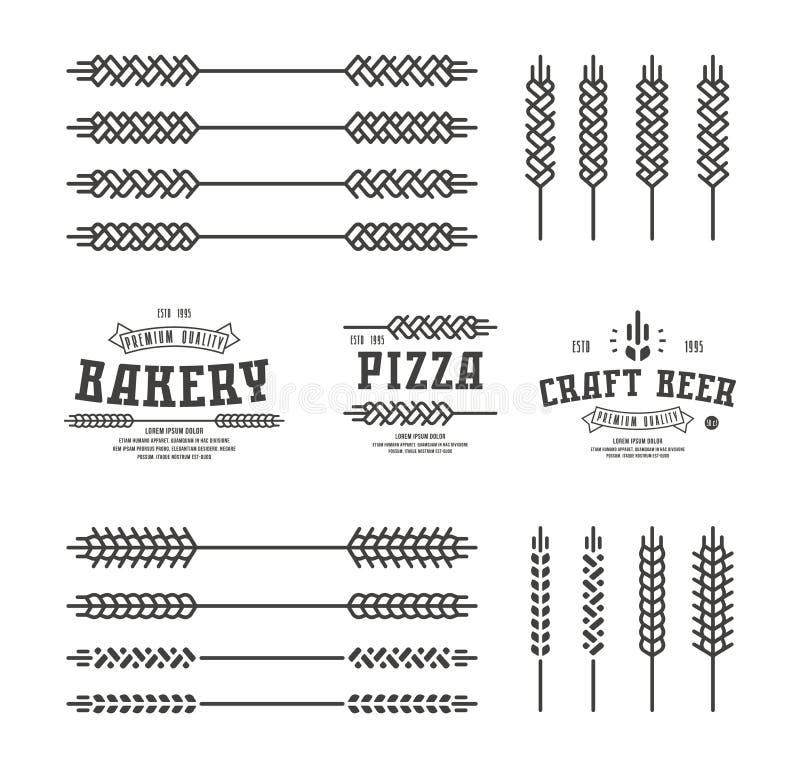 Uppsättning av stiliserat öravete Malletiketter för bagerit, pizza, är royaltyfri illustrationer