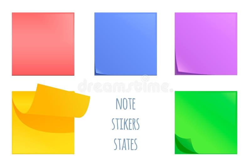 Uppsättning av stolpeanmärkningsklistermärkear Färgrikt kontorsbrevpapperhjälpmedel stock illustrationer