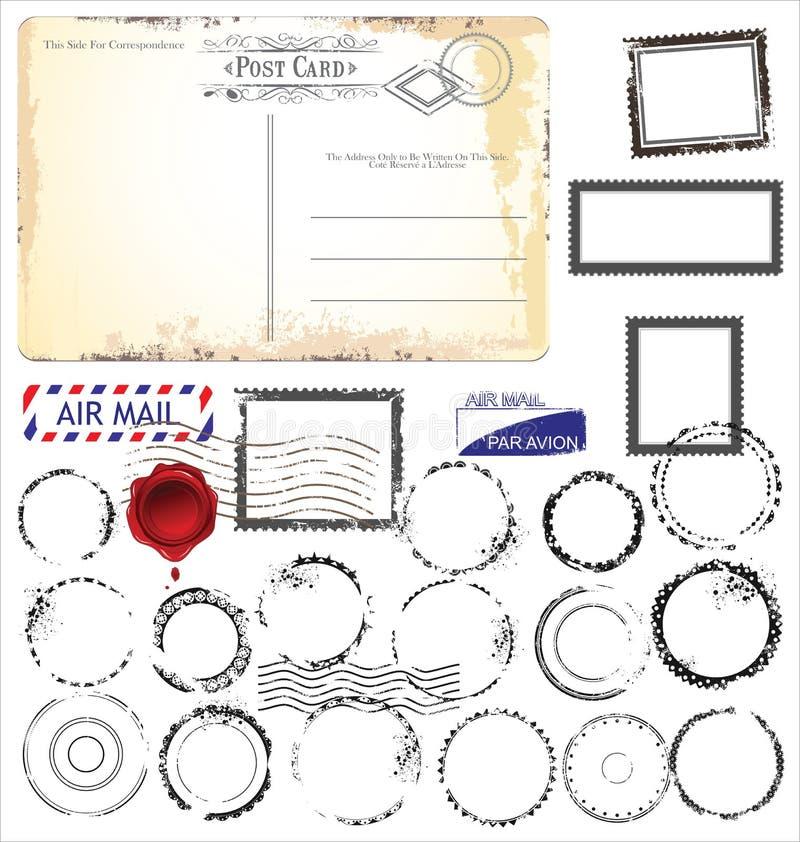 Uppsättning av stolpestämpelsymboler, illustration royaltyfri illustrationer