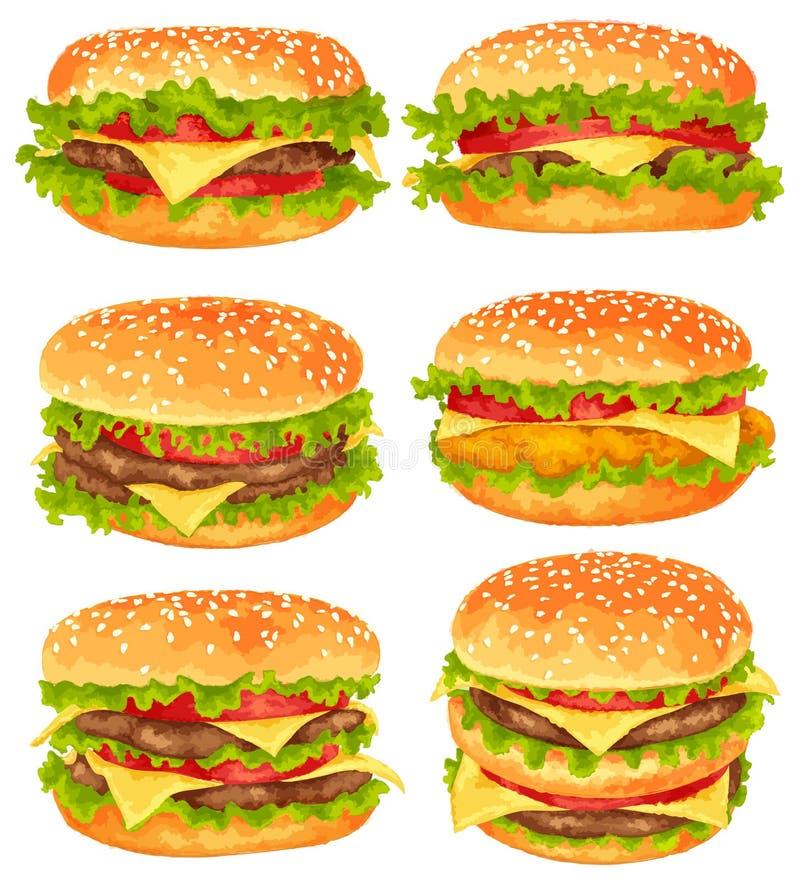 Uppsättning av stora hamburgare stock illustrationer
