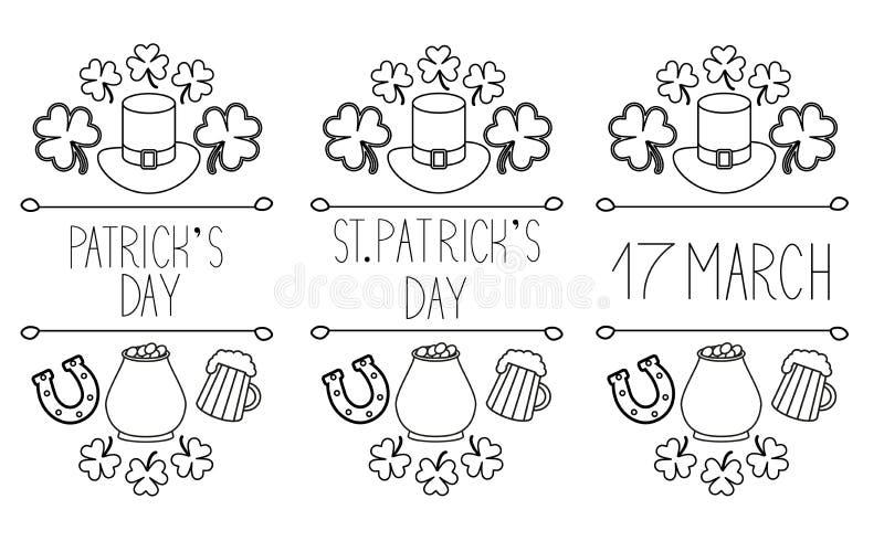 """Uppsättning av StPatricks """"för â för dagbeståndsdelar – 3 stock illustrationer"""