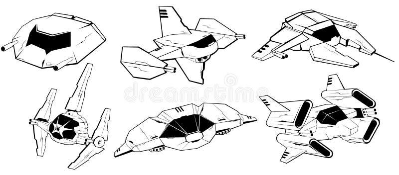 Uppsättning av stridrymdskepp Vektorillustration 4 royaltyfri illustrationer