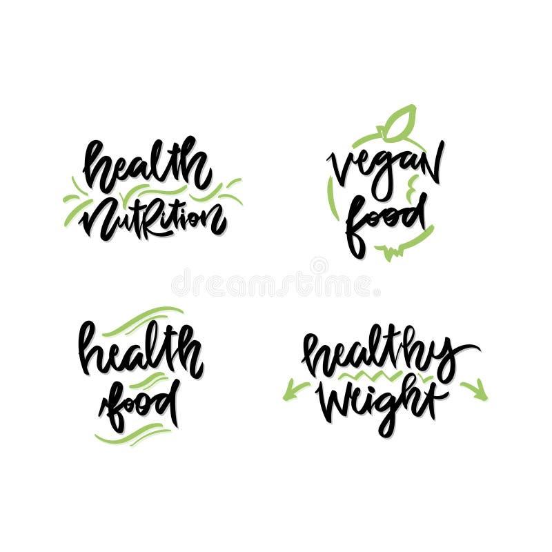 Uppsättning av strikt vegetarian, sunda handskrivna bokstäverlogoer, etiketter, emblem stock illustrationer