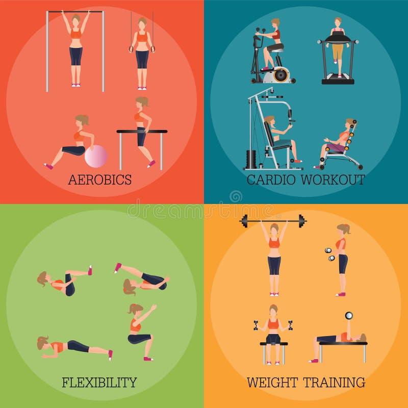 Uppsättning av styrka och kroppen för kondition som aerobisk formar övningar royaltyfri illustrationer