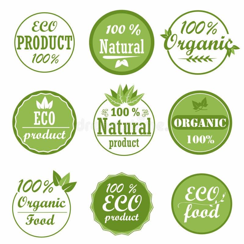 Uppsättning av sunda etiketter för organisk mat och högkvalitativa produktemblem Eco och naturproduktsymboler royaltyfri illustrationer