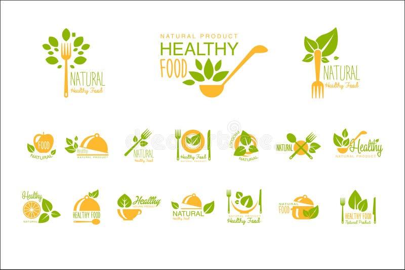 Uppsättning av sunda mat- och drinklogoer Dekorativ etikett för design Vegetarisk näring Vektoremblem för kafé, restaurang eller  vektor illustrationer