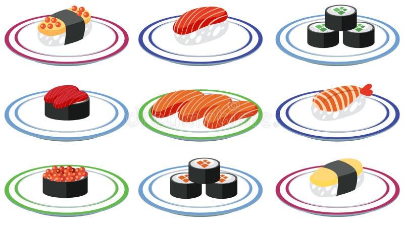 Uppsättning av sushi på plattan stock illustrationer