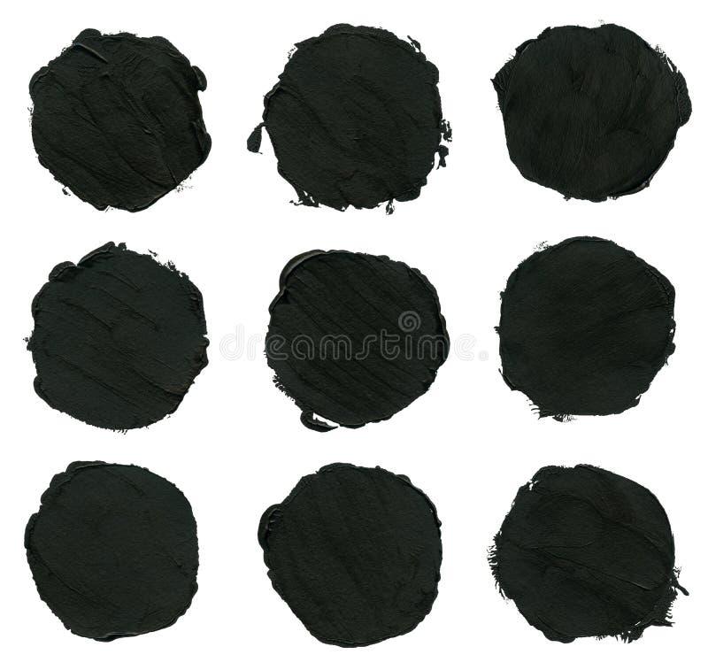 Uppsättning av svart akryl, färgpulverborsteslaglängder, fläckar royaltyfri illustrationer
