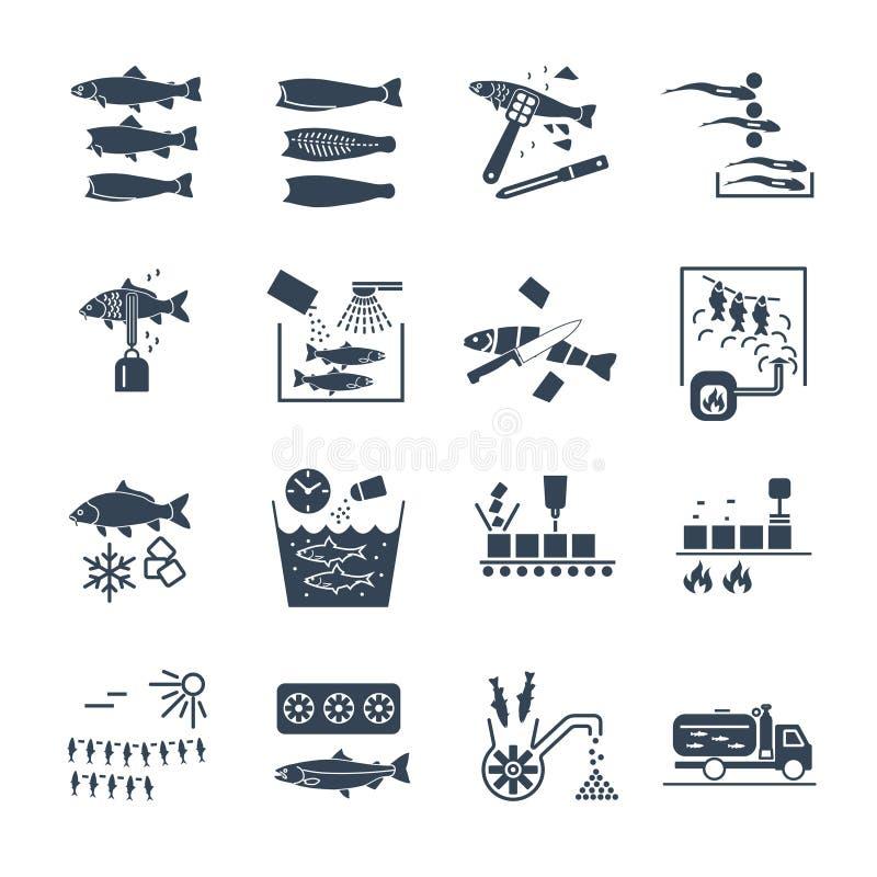Uppsättning av svart bearbeta för symboler av fisken stock illustrationer
