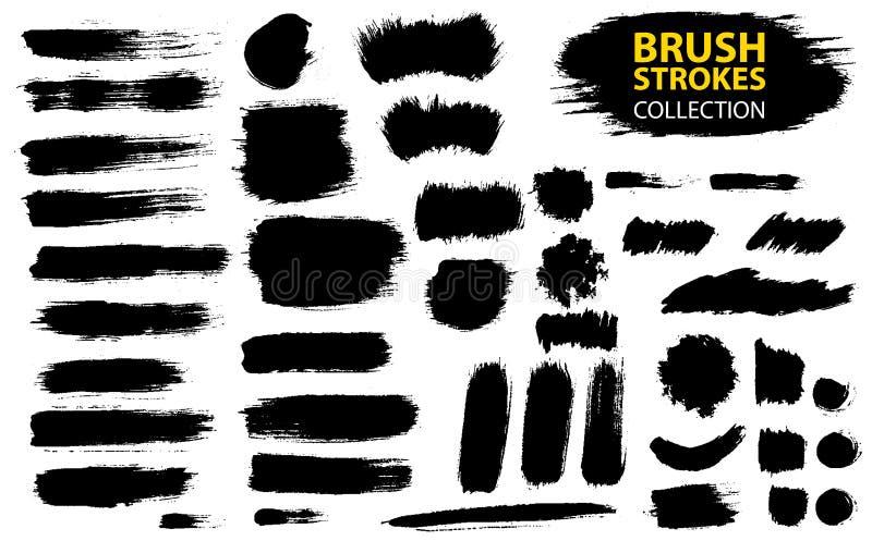 Uppsättning av svart målarfärg, färgpulver, grunge, smutsiga borsteslaglängder vektor illustrationer