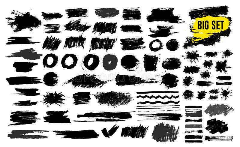 Uppsättning av svart målarfärg, färgpulverborsteslaglängder, borstar, linjer som är grungy Smutsiga konstnärliga designbeståndsde vektor illustrationer